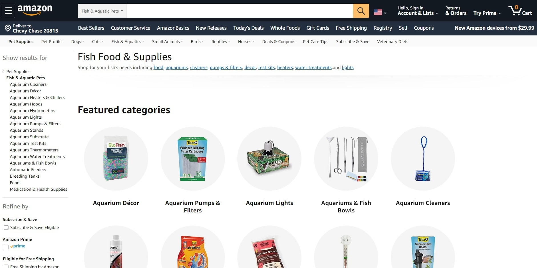Amazon fish and aquarium supplies