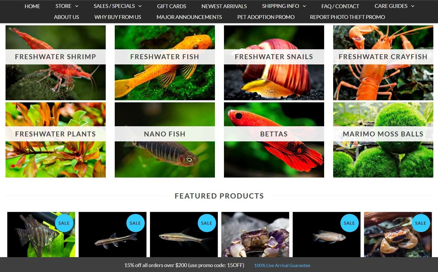 AquaticArts website homepage and categories