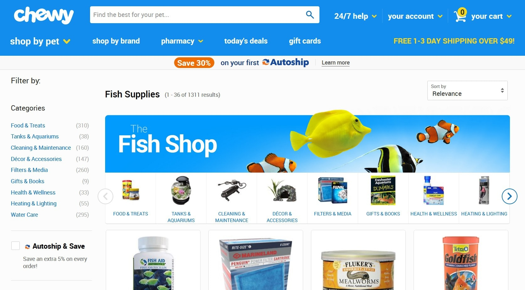 chewy fish supplies homepage