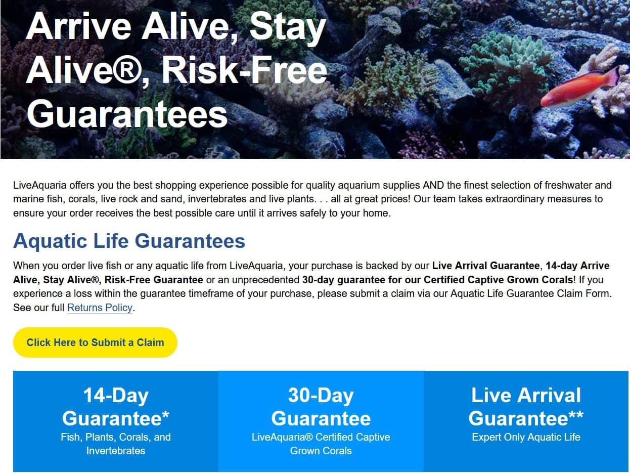 liveaquaria arrival of live fish guarantee