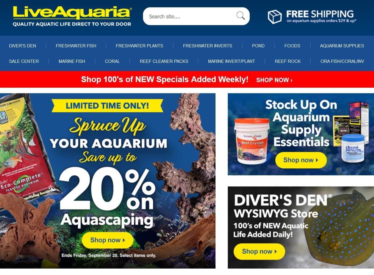 liveaquaria website homepage